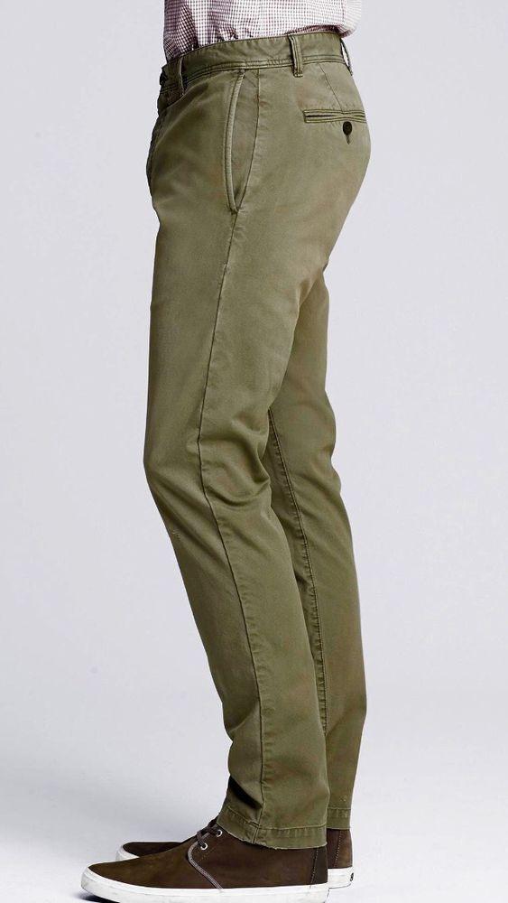 Banana Republic Smithfield Olive Green Chino Men's Pleated Pant Size 36 X 32 NWT #BananaRepublic #CasualPants