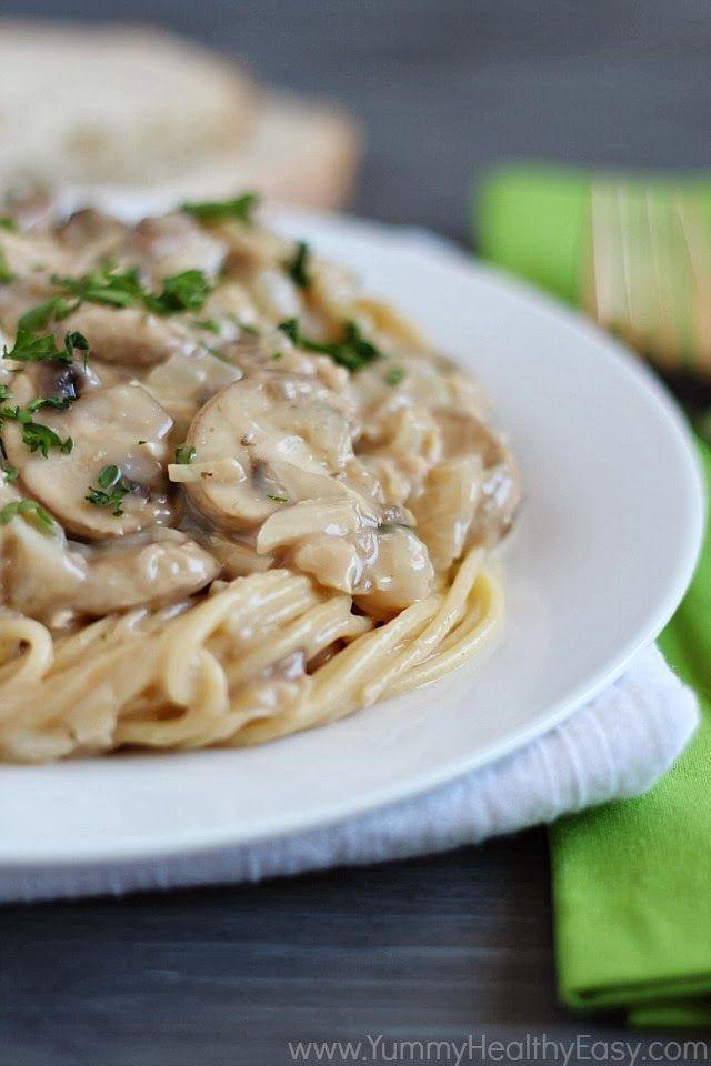 Chicken Tetrazzini | Easy, delicious creamy chicken and mushroom mixture served over spaghetti.
