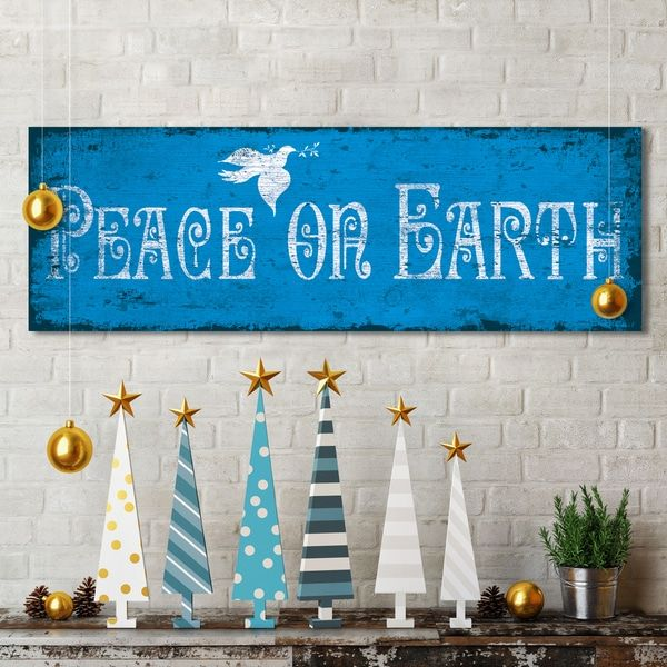 Portfolio Canvas Decor IHD Studio 'Peace on Earth' Blue Canvas Holiday Decor Display