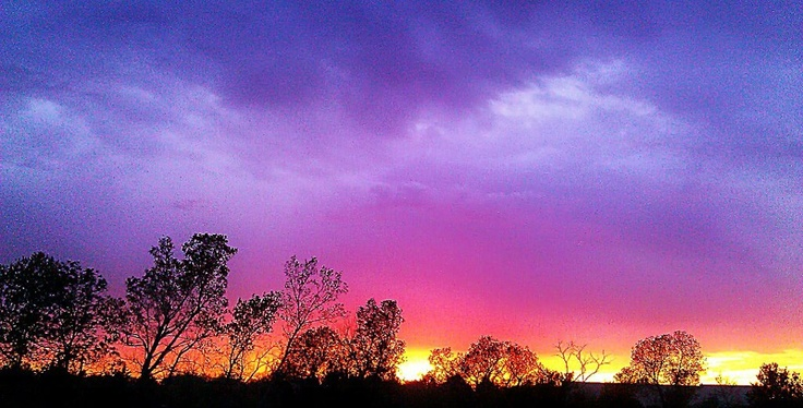 Rain showers in the area made for an amazing sunset October 1, 2012 Cushing, Oklahoma ficture from Weathernation Facebook