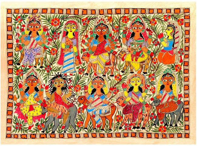 shakti-nine-forms-madhubani-paintina-folk-art.jpg (650×481)