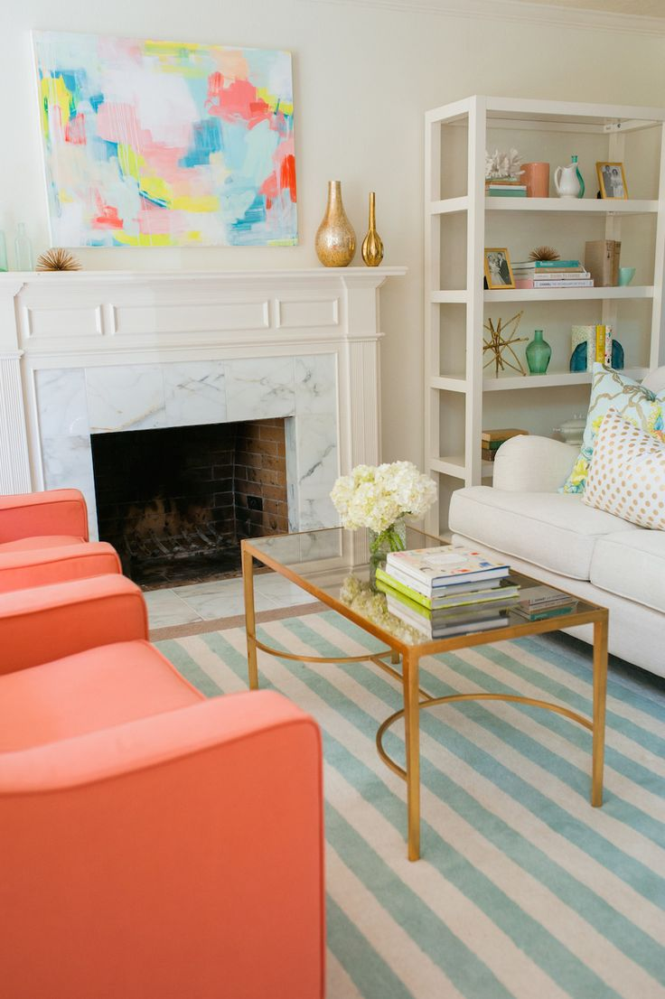 Colorful chairs for living room -  Fireplace Coral Mantel Living Room Artwork