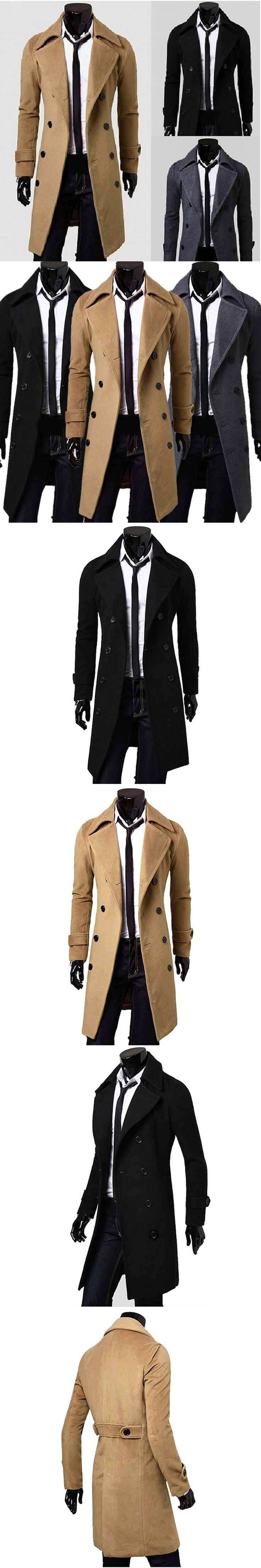 2017 New Arrival Autumn Winter Trench Coat Men Brand Clothing Fashion Mens Long Coat Top Male Overcoat Shipping From USA