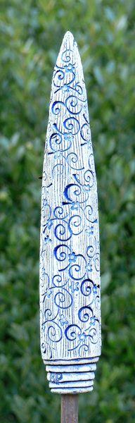 """Skulpturen - Gartenstecker """"Spitze"""" , blau - ein Designerstück von Brigitte_Peglow bei DaWanda"""