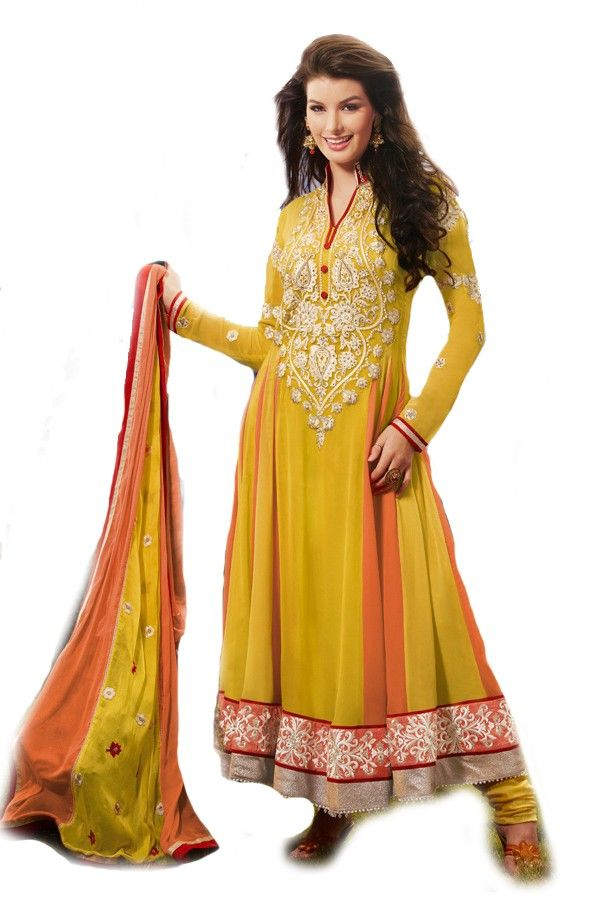 Shop Now - http://valehri.com/salwar-kameez/923-amber-yellow-peach-reflects-the-bench-mark-of-traditional-indian-touch.html