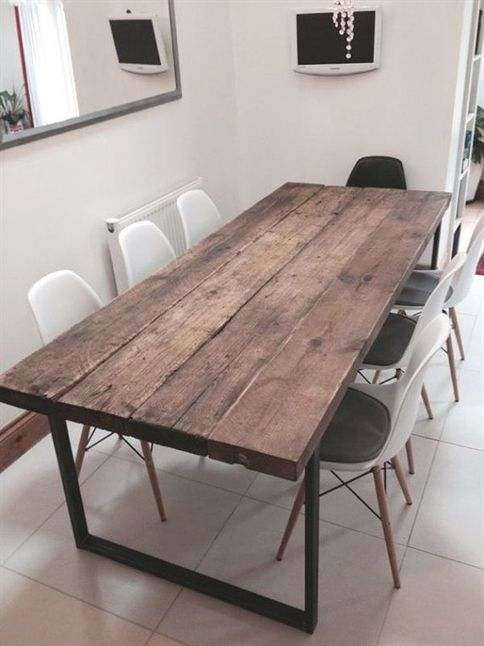 here is our 6 8 seater dining table made from reclaimed timber and rh pinterest com