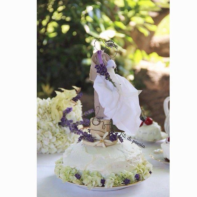Wedding cake topper fil de fer et textile by Fili di poesia