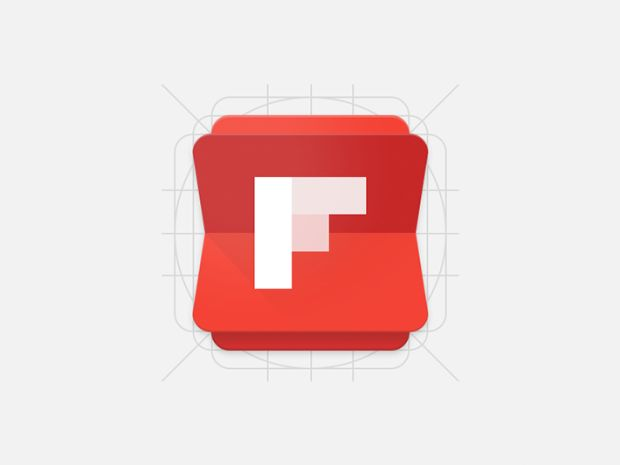 This is an icon for a news app called flipboard. The icon is very simple and successful. It looks like you're flipping through the pages of a book or a newspaper. It would be more successful, if the design was on its side.