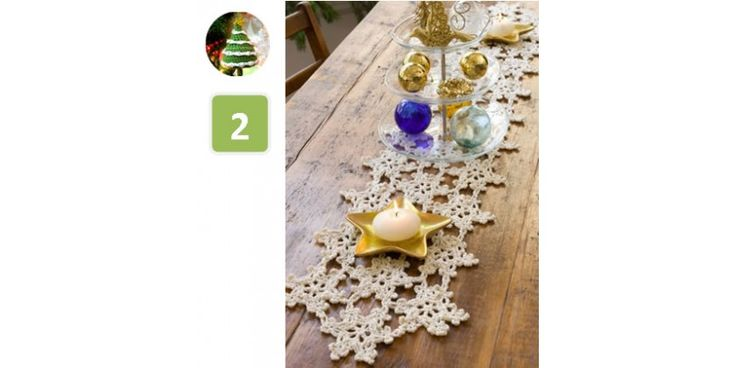 Hópehely mintás horgolt asztali futó karácsonyra