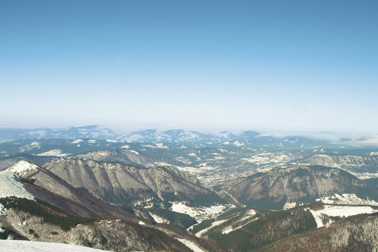 View from the mountains, Veľký Kriváň (Terchova, Slovakia) on February 2013.