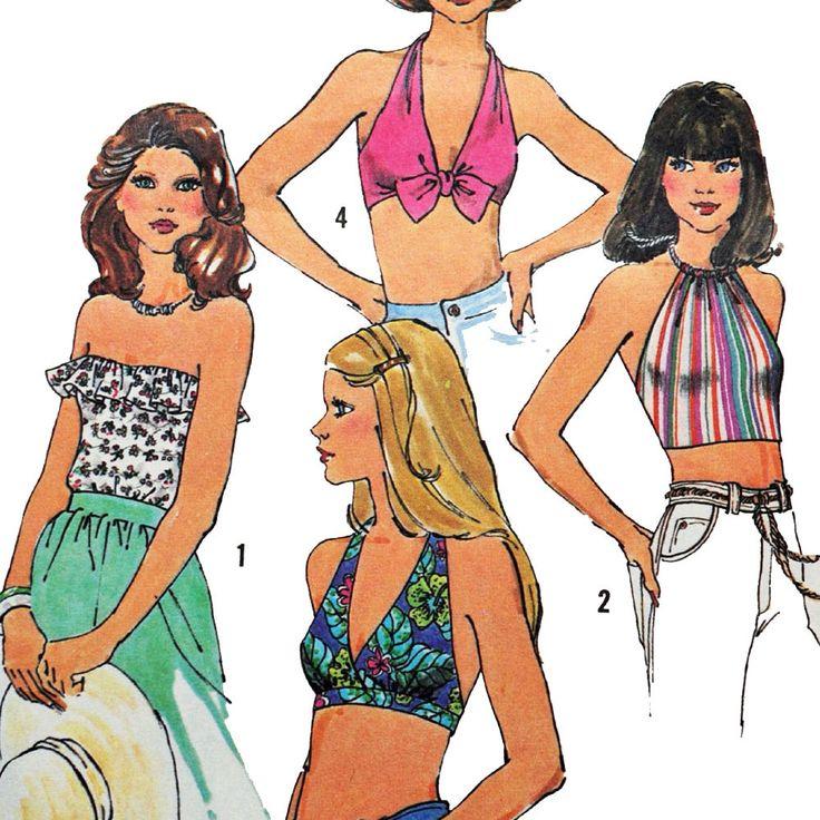 Vintage 70s Halter Top Pattern / Simplicity Pattern 7532 / Bohemian Cropped Halter Top Pattern / Swimsuit Top / Tie Front Top / Size Medium