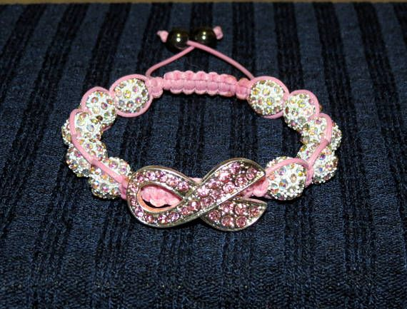 Breast Cancer Awareness Crystal Pave Bead Macrame
