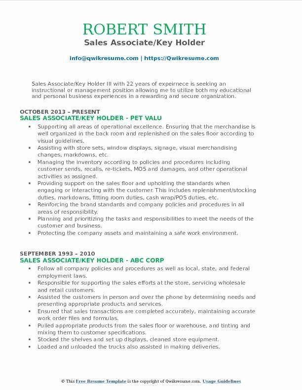 Key Holder Job Description Resume Beautiful Sales Associate Key Holder Resume Samples Sales Resume Examples Resume Examples Sales Resume