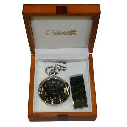 Colibri Pocket Watch with Money Clip Open Face PWS096100J Colibri. $24.95. Quartz Movement. Carbon Fiber Pocket Watch. Wooden Box. Pocket Watch Chain. Matching Fiber Carbon Money Clip with Stainless Steel
