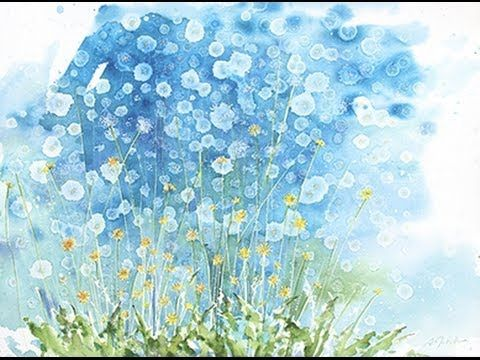 "How to watercolor:  Even More dandelions!! Large format 22""x30"""