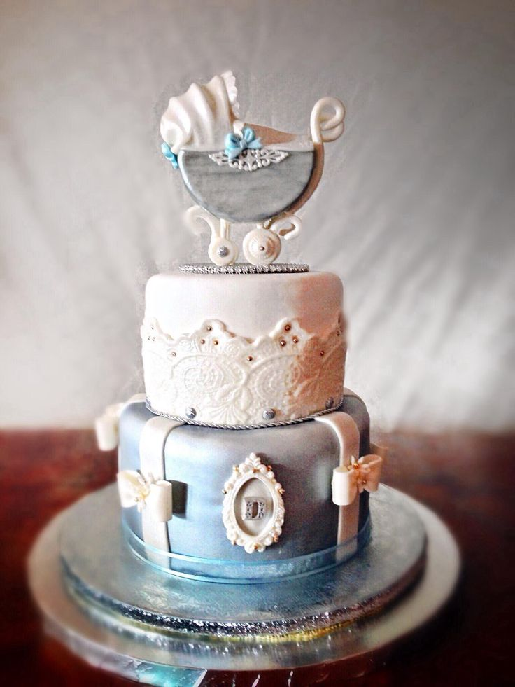 shabby chic bridal shower cakes%0A Vintage Carriage Baby Boy Shower Cake