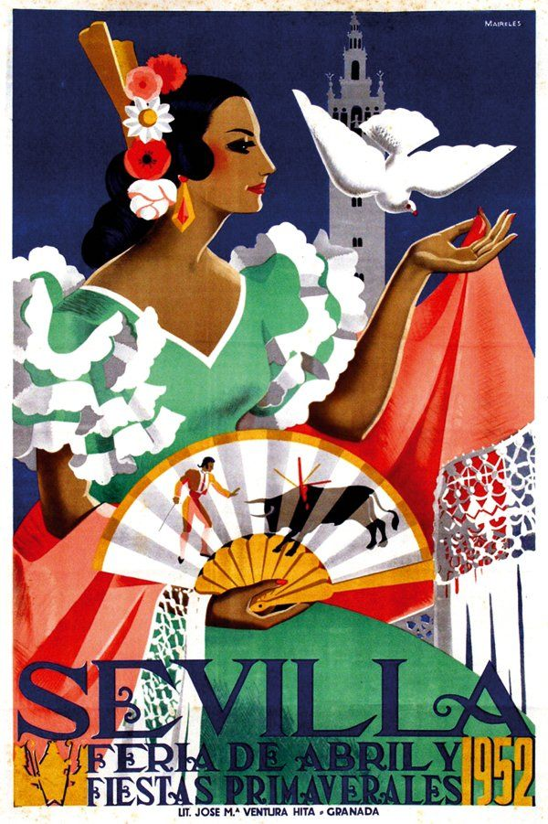 Vintage travel poster for La Feria de Sevilla, Spain spring festival.