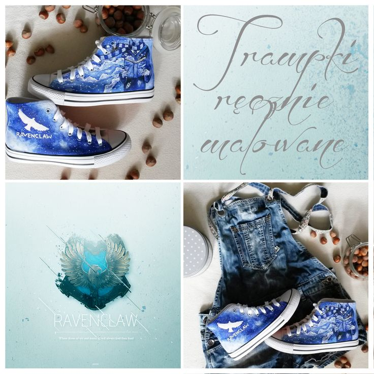 Trampki Ravenclaw ręcznie malowane, Hand-painted sneakers, Harry Potter,