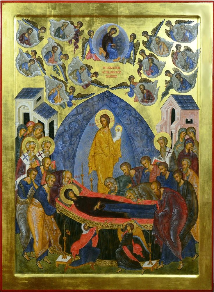 """The Dormition of the Most Holy Theotokos . 2015. Wood, gesso, tempera, gilding. 19,5""""x 15"""". Private collection (USA)."""