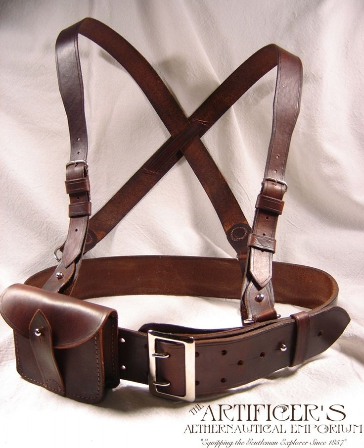 c1880's Sam Browne Harness. Made using a composite of the old harnesses patterns. Sharp eyed Steampunks will notice the slight change of shape on the ammo pouch, which has been altered to accommodate a flask.