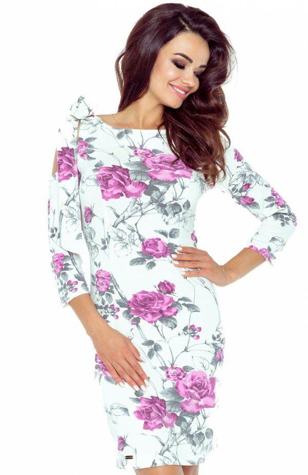 Bergamo 69-08 sukienka gałązka fiolet Szykowna sukienka, ołówkowy krój podkreśla kobiecą sylwetkę, rękaw 3/4