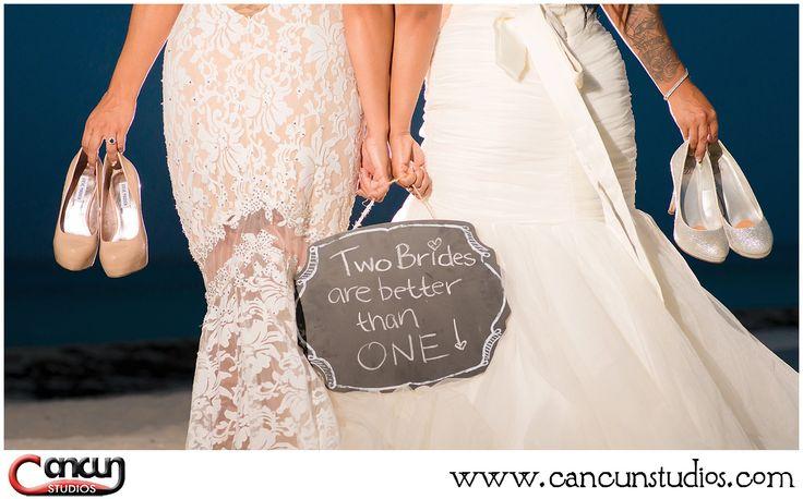 Same sex wedding in #Cancun LGBT wedding #lovewins Lesbian wedding at the beach www.cancunstudios.com