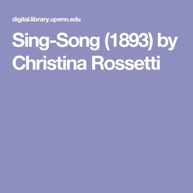 Sing-Song (1893) by Christina Rossetti