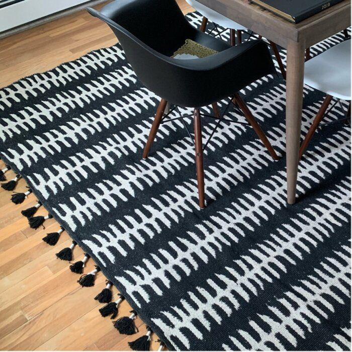 Cripe Striped Hand Knotted Black Gray Area Rug With Images