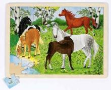 Drevené puzzle Kone - Pre deti od 3 rokov - Puzzle - Hry a puzzle - Hračky a Detský nábytok- Detský Sen - Maxus