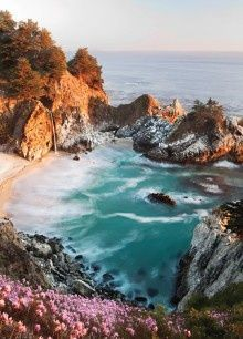 McWay Falls in northern California. A waterfall that pours in to an ocean cove. Yeah.
