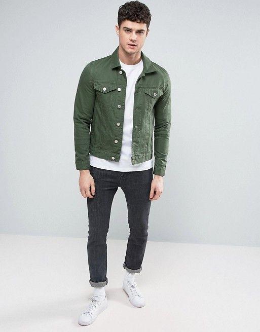 baeea359a River Island | River Island Denim Jacket In Dark Green | Outfits ...