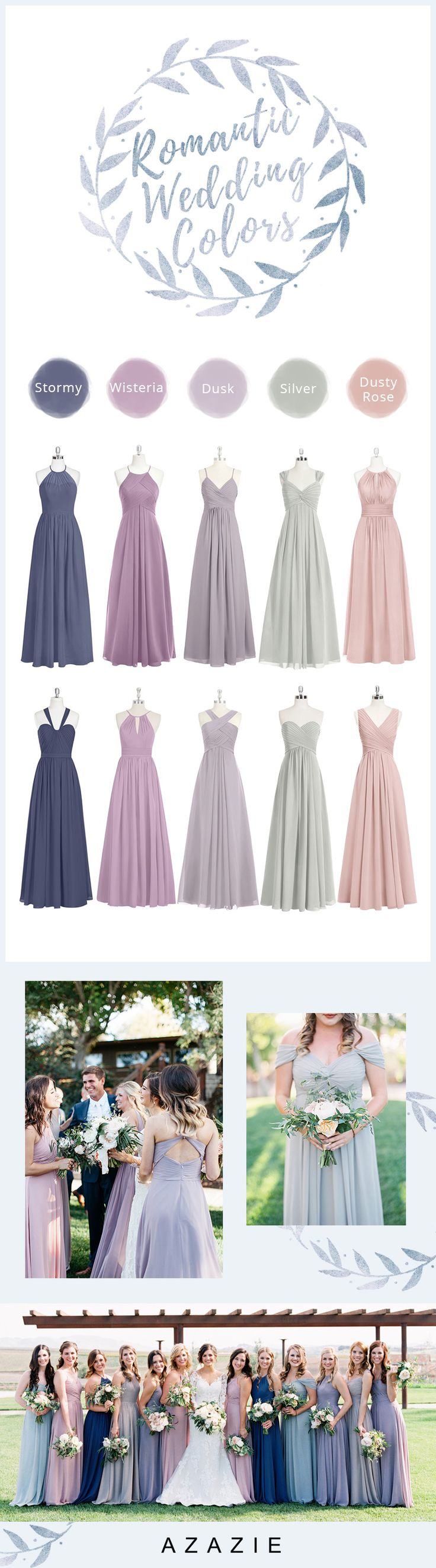Fall in love all over again with this dreamy color palette! Azazie makes it easy to mix+match your bridal party. Shop now: www.azazie.com