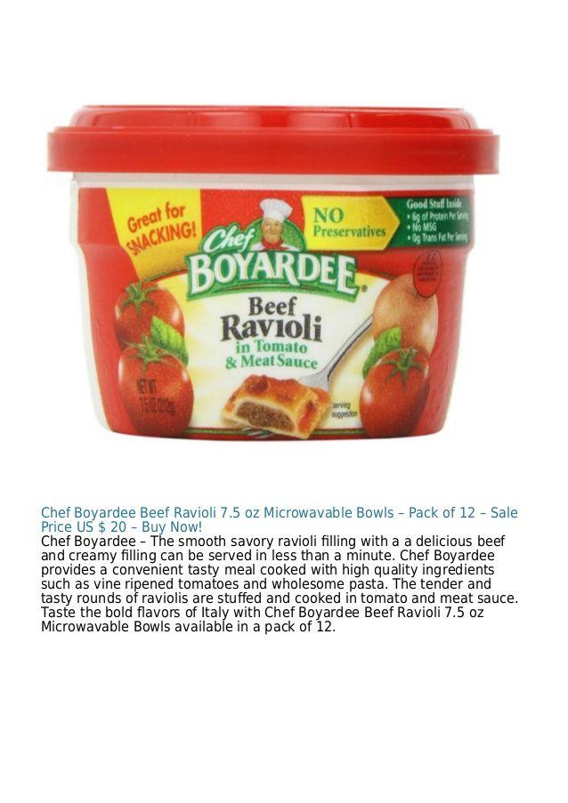 Chef Boyardee Beef Ravioli 7.5 oz Microwavable Bowls – Pack of 12 – Sale Price US $ 20 – Buy Now! Chef Boyardee – The smoo...
