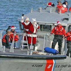 Santa arrives on Coast Guard vessel