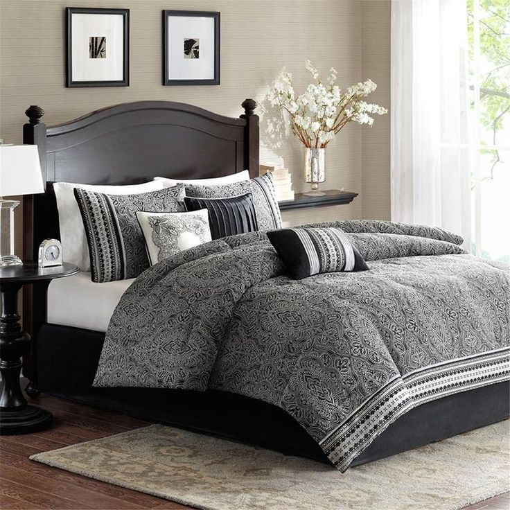 Modern 7pc Regal Black & Grey Damask Comforter Set AND Decorative Pillows #MadisonPark #ComforterSets #BedLinenInspiration