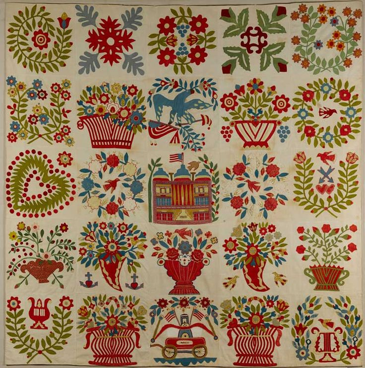 Artist unidentified  Baltimore; found in Uniontown, Pennsylvania  1845–1850  Cotton with wool embroidery  84 x 82 in.  American Folk Art Museum.
