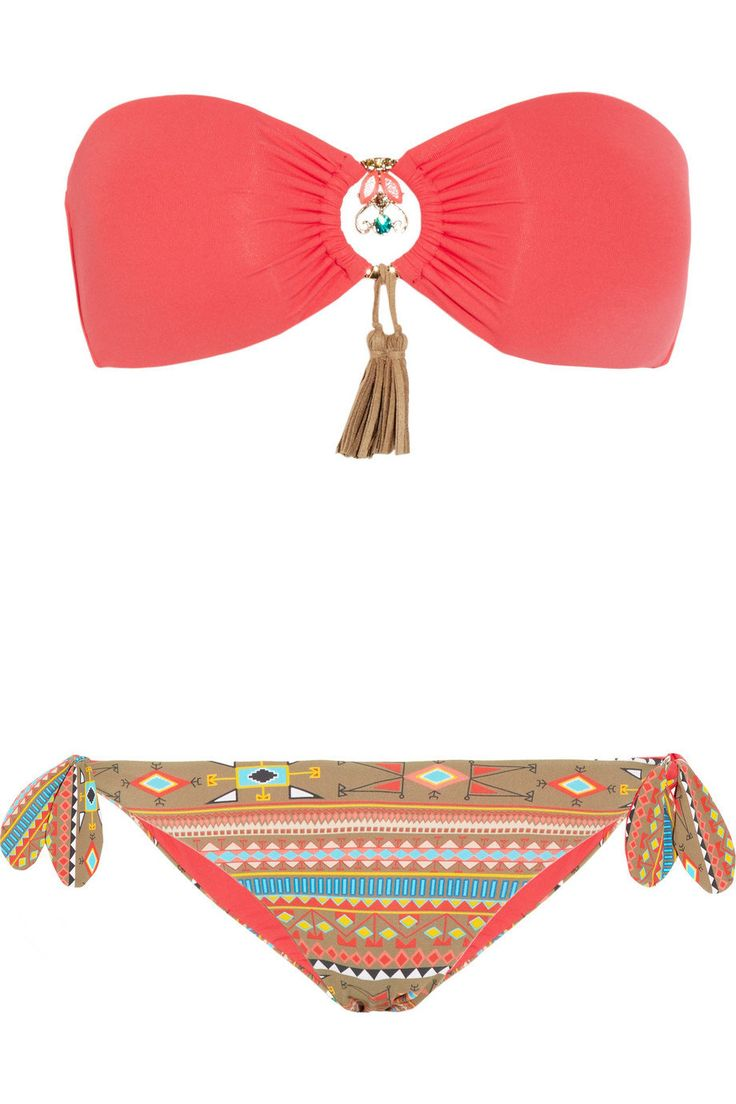 Emamó   Aymara embellished bandeau bikini