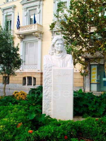 """In remembrance of Melina Mercouri (1921-1994).  Upon her death she was mourned by thousands who declared her to be """"The Last Greek Goddess"""".  The bust is placed in front of the Acroplis station in Athens, GREECE."""
