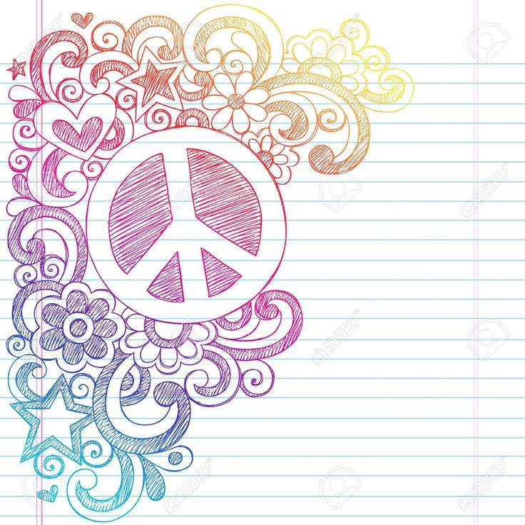 Peace Sign And Love Psychedelic Back To School Sketchy Notebook.. Royalty Free Cliparts, Vectors, And Stock Illustration. Pic 18705028.