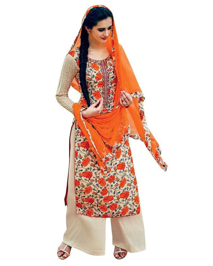It is said that an Indian lady looks pretty when she turns up her look into desi avatar(traditionally)wearing suit salwar and this is a outfits which completes her that desire to look pure Indian. Shop for this orange and beige printed palazzo suit. #womensfashion #palazzostyle