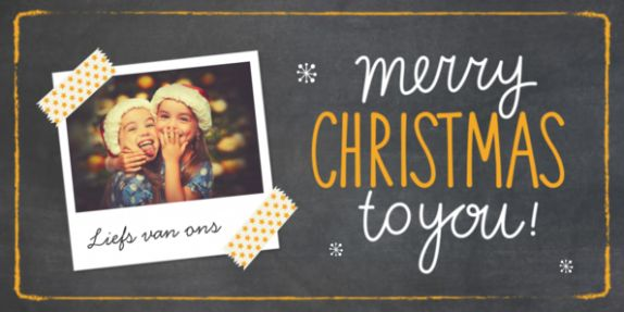 Stoere kerstkaart met een krijtbord achtergrond en een polaroid kader waar je je eigen foto in kunt plaatsen.