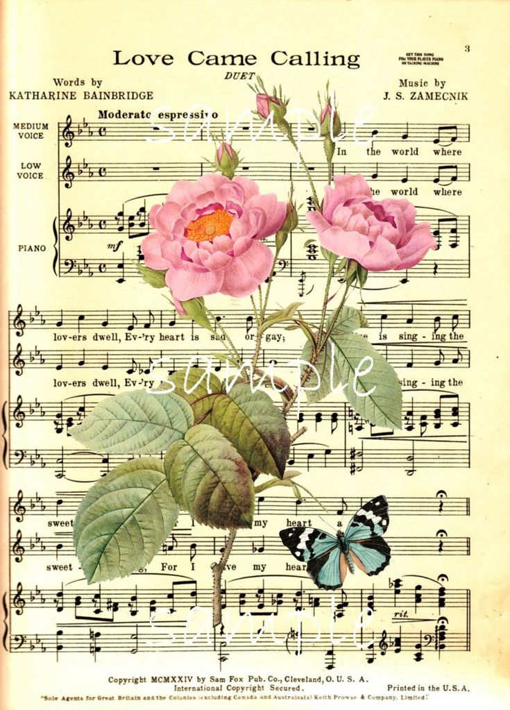 Single image vintage music sheet with roses transfer for Paper roses sheet music free