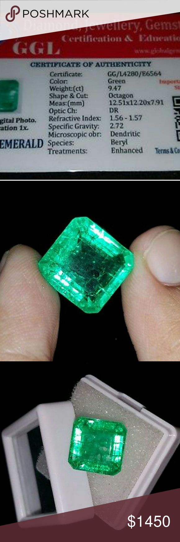 Elegant 9.47 Ct Certified Square Shape Colombian E Shape: Square Cut Grade: Excellent Length: 12.51 mm Certificate: GGL Width: 12.20 mm Country of Origin: Colombia Depth: 7.91 mm Color: Green Total Carat Weight (TCW): 9.47 Ct Country/Region of Manufacture: India Treatment: Enhanced Natural/Lab-Created: Natural According to the International Gem Society, clean, top-color gems command a retail price of $1,000 to $3,000 per carat. Jewelry