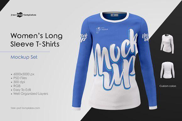 Download Women S Long Sleeve T Shirts Mockups Shirt Mockup Clothing Mockup T Shirt Image