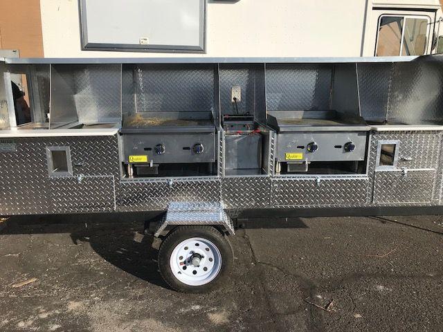 "This customer got 2-24"" griddles, 2-steamers, and a deep fryer! What!?! pfcarts.com #hotdogs #tacos #mobilefood #mobilevending #foodcart #foodtruck #foodtrailer"