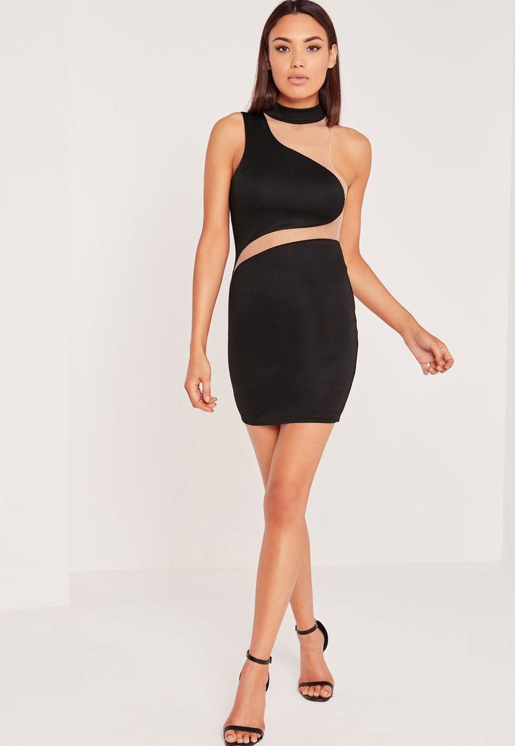 Missguided - Asymmetric Neck Mesh Insert Mini Dress Black