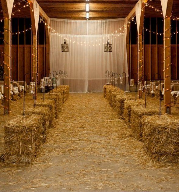 decoration lieu ceremonie mariage western botte paille