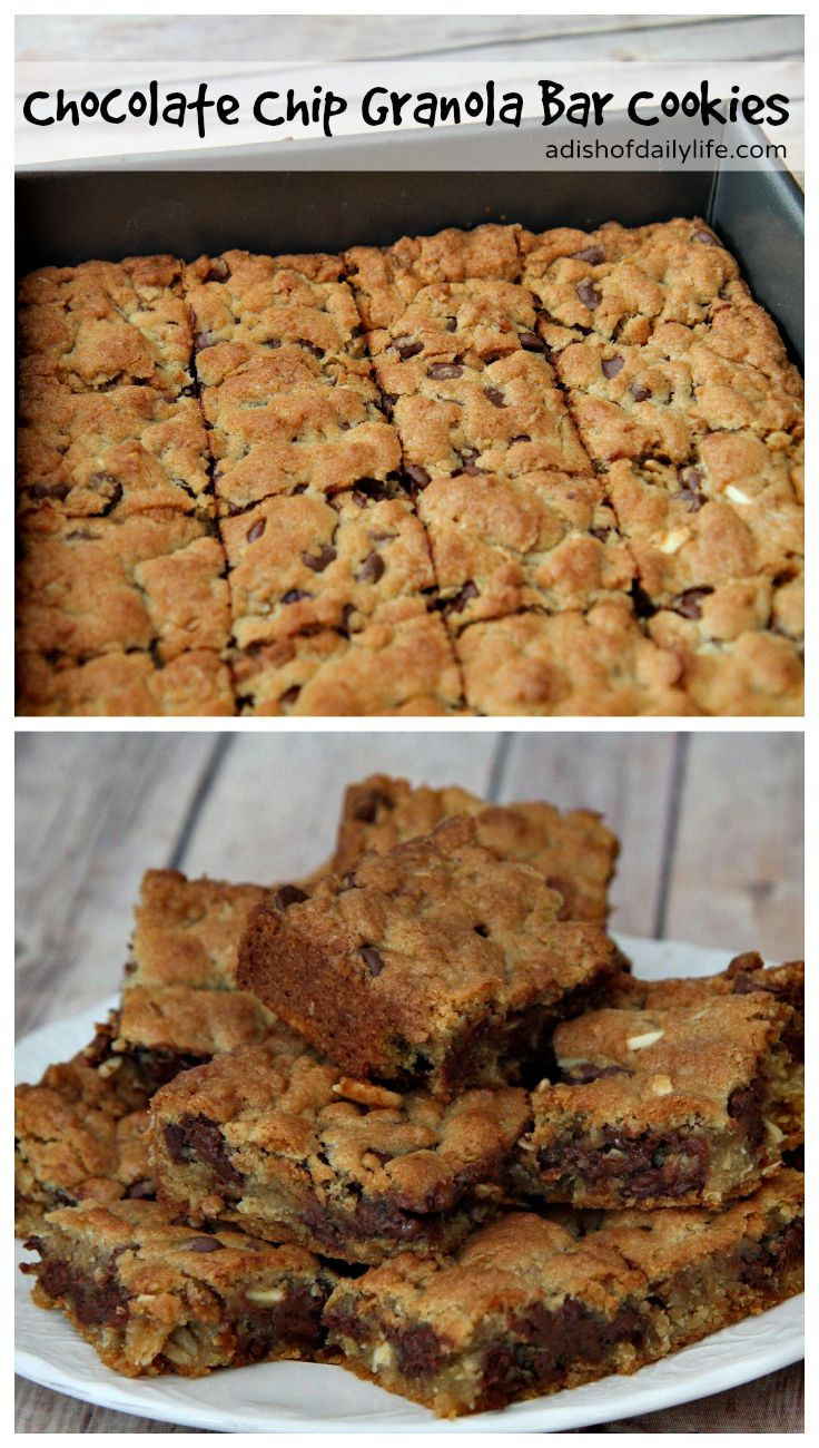 Delicious chocolate chip granola bar cookies easy to