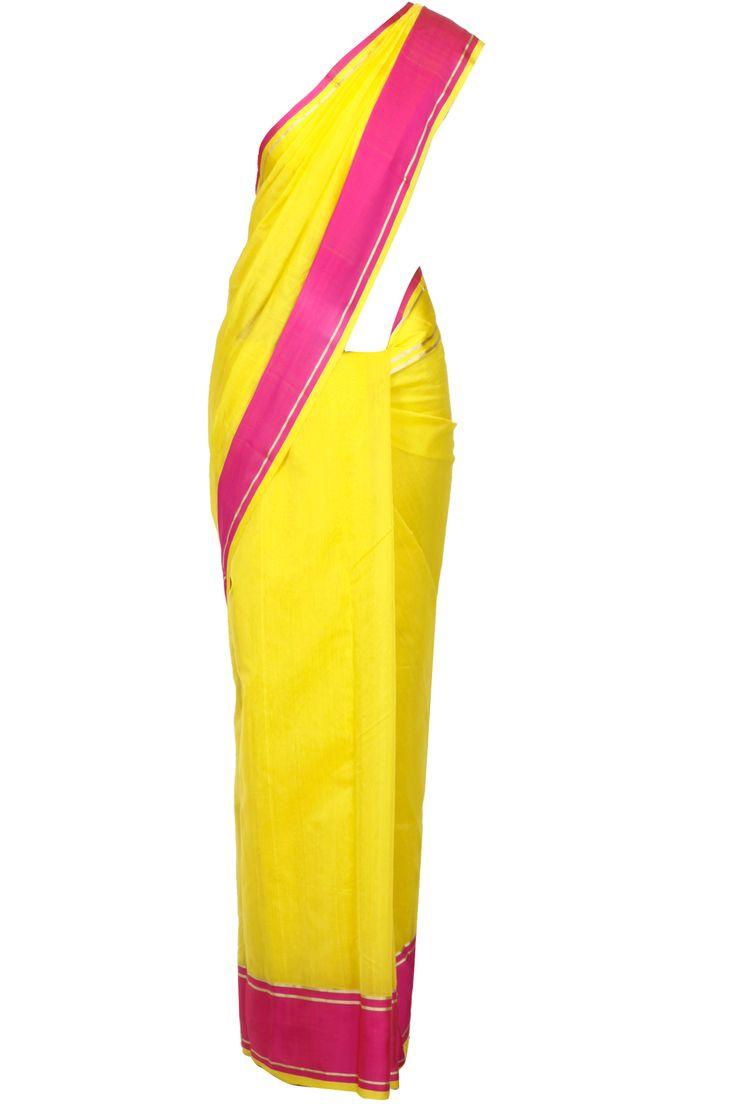Yellow and pink colour block handloom sari by EKAYA. Shop now at www.perniaspopupshop.com! #saree #ethnic #ekaya #perniaspopupshop #celebrity #designer #fashion #style #chic #trendy #clothes #shopnow #happyshopping