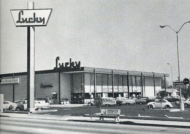 Mid 1960's Lucky Supermarket. I believe this is the one on Orange.  My mom shopped here every week and I an remember her filling up two shopping carts for about $50.